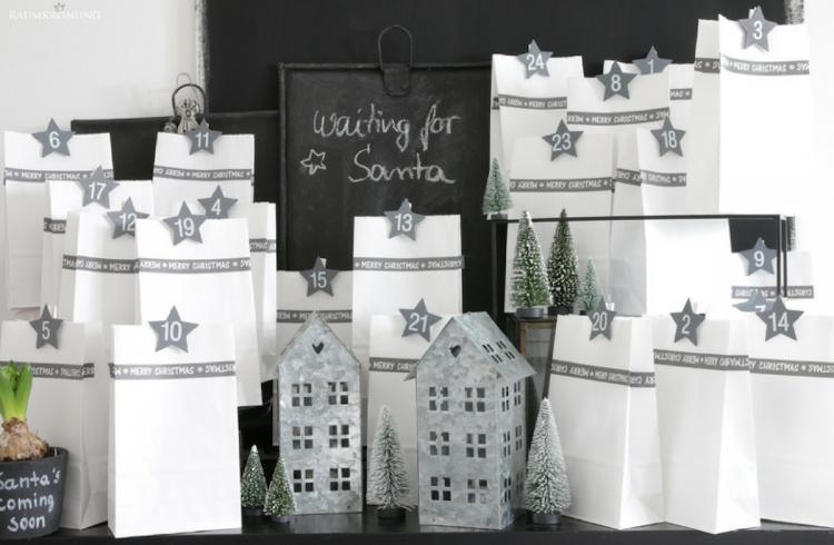 Adventskalender-Adventskalenderidee-Idee-Weihnachten-Tüten-DIY-Selbermachen-Häuschen-Sterne-Klammern-Zahlen