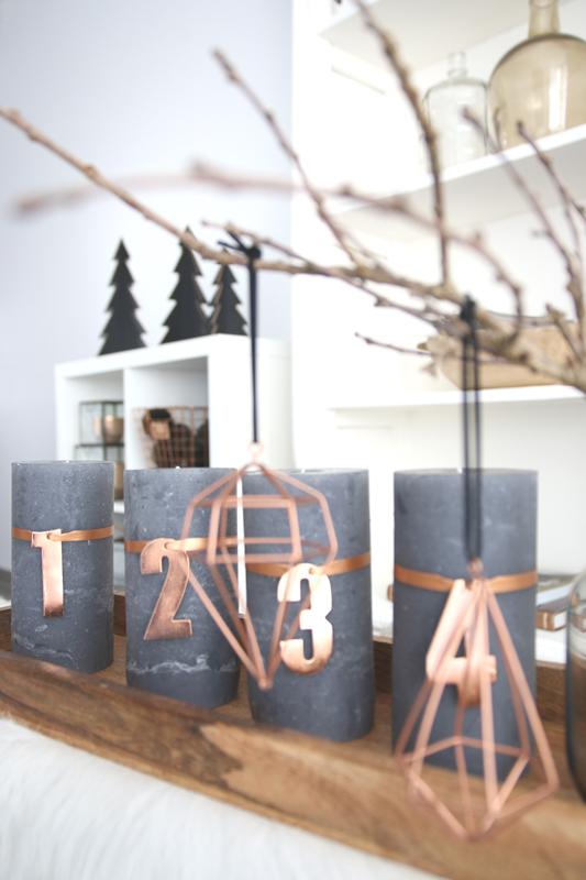 Adventskranz mit Kupfer Zahlen selber machen I DIY Adventskranz