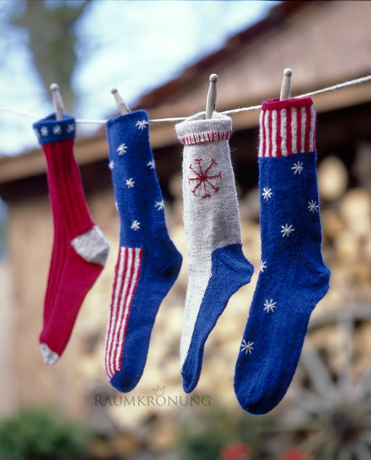 Socken stricken-Geschenkidee-Amerika-stars and stripes